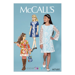 McCall's Girls' Princess Seam Dresses with Contrasts M7680 - Sewing Pattern