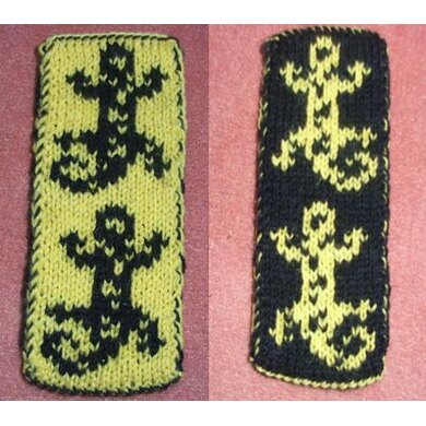 Double knitting fire salamander bookscarf