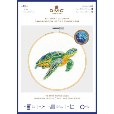 DMC Tranquil Turtle Cross Stitch Kit (with 7in hoop) - 7in