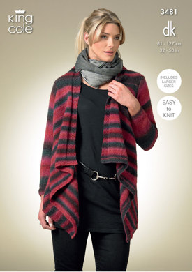 Long and Short Sleeved Cardigan in King Cole Riot DK - 3481