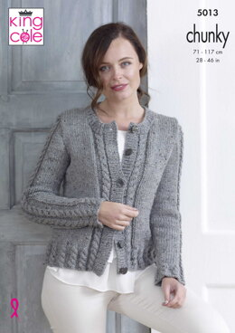 Cabled Cardigan & Sweater in King Cole Chunky Tweed - 5013 - Downloadable PDF