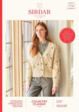 Floral Cable Cardigan in Sirdar Country Classic Worsted - 10166 - Downloadable PDF