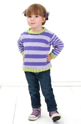 Stripe-it-Easy Pullover in Red Heart Soft Baby Steps - LW3236EN