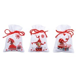 Vervaco Pot-Pourri Bags - Christmas Gnomes Cross Stitch Kit (3 pcs) - 8cm x 12cm
