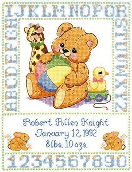 Janlynn Corporation Bear Birth Sampler Stamped Cross Stitch Kit - 28cm x 35.5cm