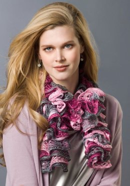 Frilly Knit Scarf in Red Heart Boutique Sashay - LW2517