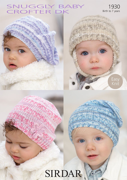 Sirdar Knitting Patterns For Children : Babys and Childs Hats in Sirdar Snuggly Baby Crofter DK - 1930 - Do...