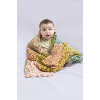 Sugar Hill Baby Throw in Lion Brand Cotton-Ease and Sock Ease - 90077AD