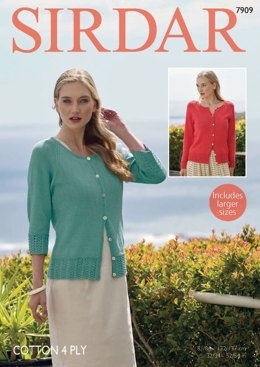 Long and 3/4 Sleeved Cardigans in Sirdar Cotton 4 Ply - 7909  - PDF