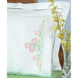 Jack Dempsey Stamped Pillowcases W White Lace Edge 2Pkg - Tulips