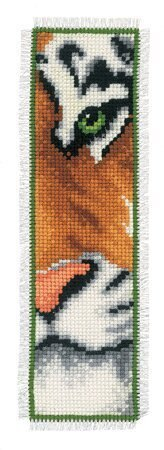 Vervaco Tiger Face Bookmark Cross Stitch Kit - 6cm x 20cm