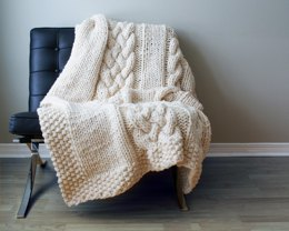 "Throw Blanket / Rug Super Chunky Double Cable Approximately 49"" x 64"""