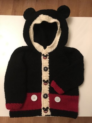 Mickey Mouse Hoodie Cardigan Free Pattern Knitting Project By Katie