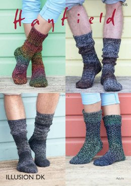 Ribbed and Stocking Stitch Socks in Hayfield Illusion DK - 7935