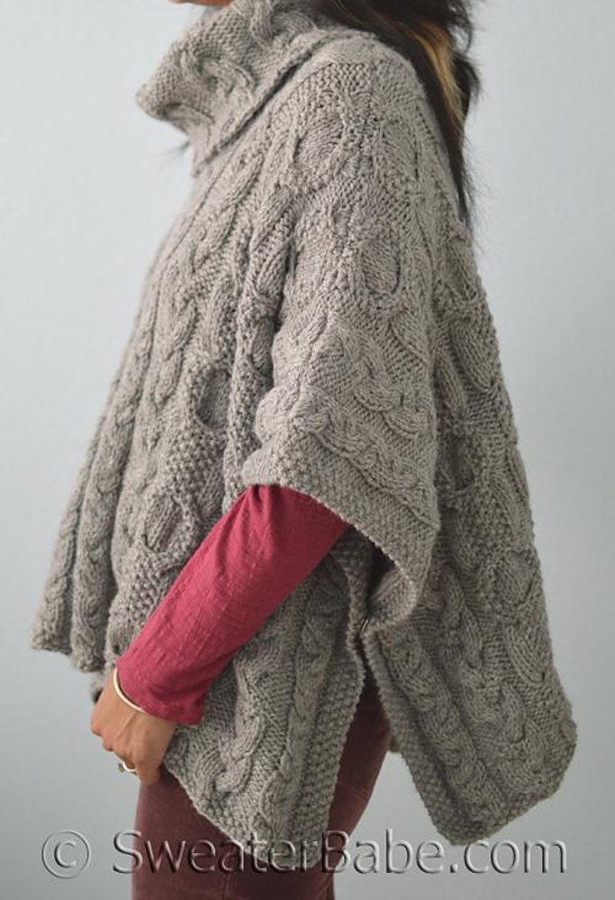 163 Cable Love Cowl Neck Poncho Knitting Pattern By