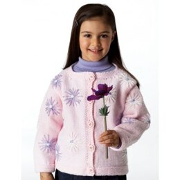 Cardigan with Lazy Daisies in Bernat Super Value