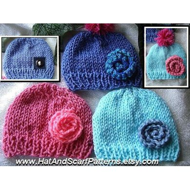 575 UNISEX KNITTED BEANIE HAT, and flower