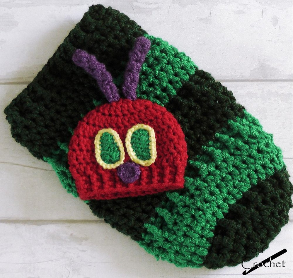 Hungry Caterpillar Baby Cocoon And Hat Set Crochet Pattern By You