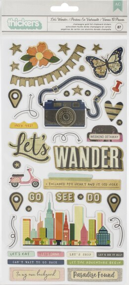 American Crafts Vicki Boutin Let's Wander Thickers Stickers 87/Pkg - Let's Wander Phrase/Chipboard
