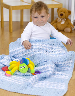 Special Delivery Striped Blanket in Red Heart Plush Baby Solids - LW3043 - Downloadable PDF