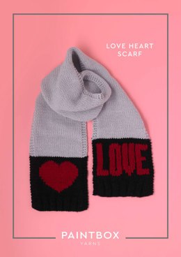 """Love Heart Scarf"" - Free Scarf Knitting Pattern in Paintbox Yarns Simply Chunky"