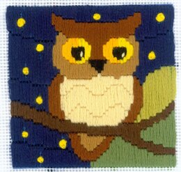 Riolis Owl Among the Stars Longstitch Kit - 10cm x 10cm