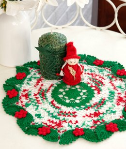 Holly & Lace Doily in Red Heart Aunt Lydia's Classic Crochet Thread Size 10 Solids - LC2632