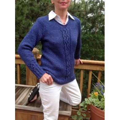Cornflower Cabled Pullover