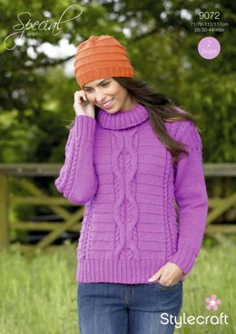 Womens' Cable Sweater and Simple Hat in Stylecraft Special Aran