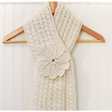 Lovely Textured Keyhole Scarf With Spiral Flower Crochet Pattern By
