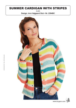 Summer Cardigan with Stripes in BC Garn Alba - 2394BC - Downloadable PDF