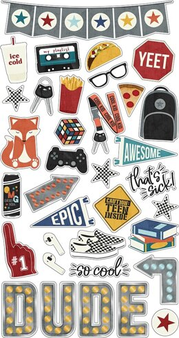 """Simple Stories Bro & Co. Chipboard Stickers 6""""X12"""" - 620015"""