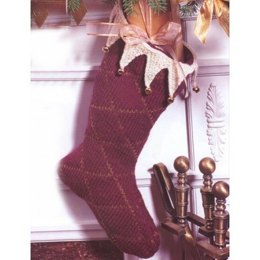Burgundy Holiday Stocking in Patons Canadiana