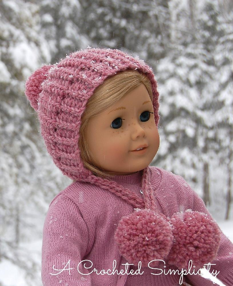 """Winter Poms"" 18"" Doll Hat Crochet pattern by Jennifer Pionk"