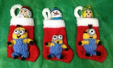 Minion Christmas.Minion Christmas Stocking Tree Decorations Knitting Pattern By Andrew Lucas