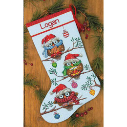 Dimensions Holiday Hooties Stocking Cross Stitch Kit - 40cm