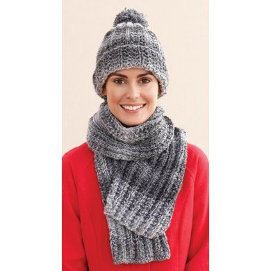 Rustic Ribbed Hat and Scarf in Lion Brand Tweed Stripes - L0611E