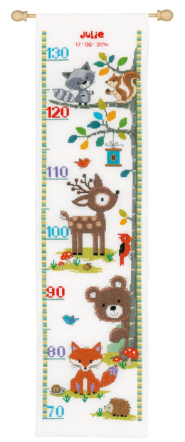 Vervaco Forest Animals II Height Chart Cross Stitch Kit