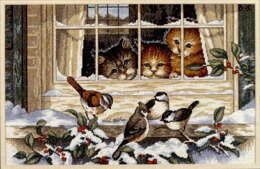 Dimensions Three Bird Watchers Cross Stitch Kit - 36cm x 23cm