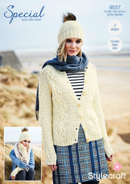 Cardigan, Mittens & Hat in Stylecraft Special Aran with Wool - 9557 - Downloadable PDF