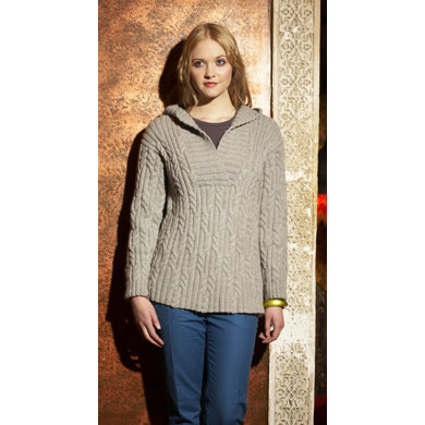 """""""Hooded Cabled Tunic"""" : Tunic Knitting Pattern for Women in Debbie Bliss Aran Yarn"""