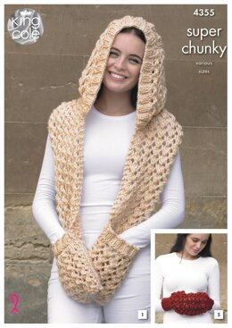 Hooded Scarf, Scarf, Snood, Slouchy Hat and Hand Warmer in King Cole Super Chunky - 4355 - Downloadable PDF