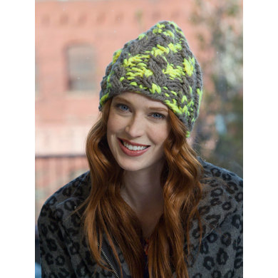 Neon Cabled Hat in Lion Brand Wool-Ease Thick & Quick - L32377