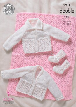 Pram Cover, Cardigans and Bootees in King Cole DK - 2914