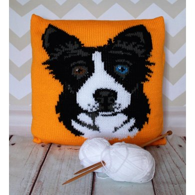 Border Collie Knitting Pattern : Border Collie/Sheepdog Pet Portrait Cushion Cover Knitting Pattern Knitting p...