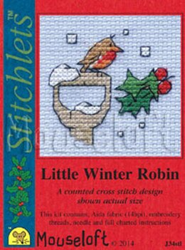 Mouseloft Christmas Card Stitchlet - Little Winter Robin Cross Stitch Kit
