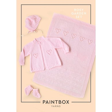 """""""Rosy Garden Set"""" - Accessory Knitting Pattern in Paintbox Yarns Baby DK"""