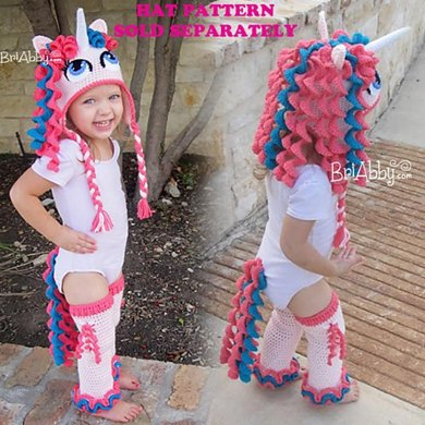Unicorn / Pony Tail & Leg Warmers (Hat Pattern Sold Separately)