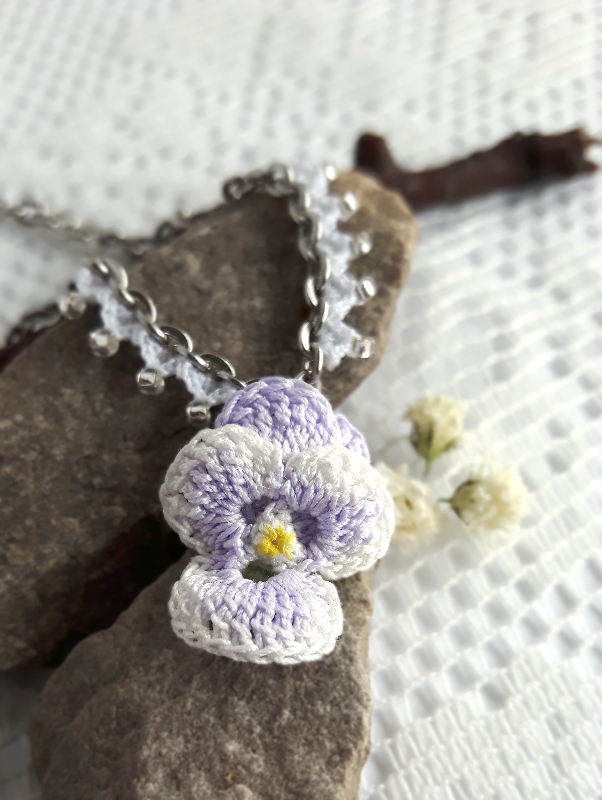pretty purple pansy necklace crochet project by freja blomst micro crocheted hand painted floral. Black Bedroom Furniture Sets. Home Design Ideas