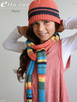 Scarf and Beanie in Ella Rae Phoenix - ER4-01 - Downloadable PDF